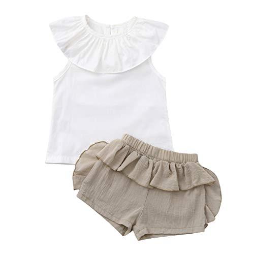 Ropa Bebe Niña Verano Fossen Recién Nacido 6 Meses a 3 Años Camisetas sin Mangas con Volantes + Pantalones Cortos Conjuntos/2pc