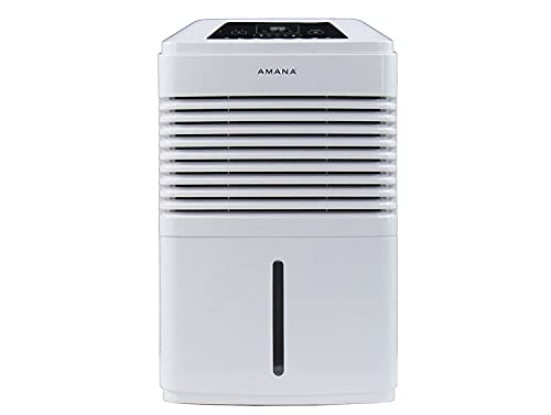 AMANA 48 Pint Portable Dehumidifier with Adjustable Humidistat, Auto Shut-Off Indicator, and 24-Hour Timer | for Use in Bathrooms, Basements, and Bedrooms | AMAD481BW, Day, White