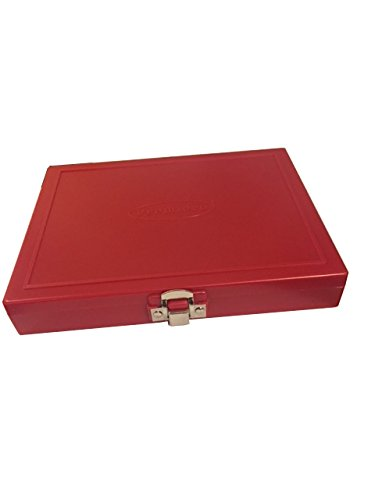 Premiere Brand Red 100 Place Microscope Slide Storage Box - ABS Plastic Cork Lined With Hinged Clasp - Stackable