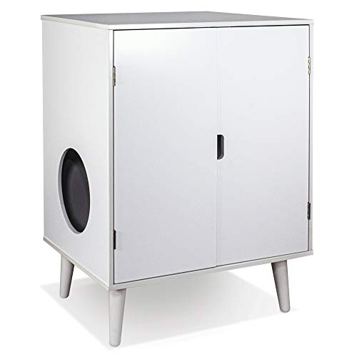 Penn Plax CATFF21 Cat Walk Furniture: Contemporary Home Cat Litter Hide-Away Cabinet – All White
