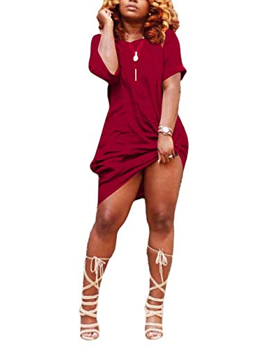 Remelon Women's Casual Off Shoulder Short Sleeve T Shirt Dress Loose Knot Tie Dress Wine Red
