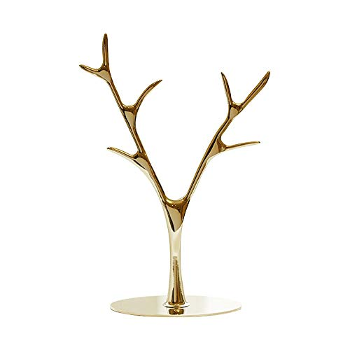 YuanBo Wu Jewelry Stand Metal Branches Jewelry Rack Necklace Earrings Display Stand Decorative Rack Key Storage Rack (Color : Gold)