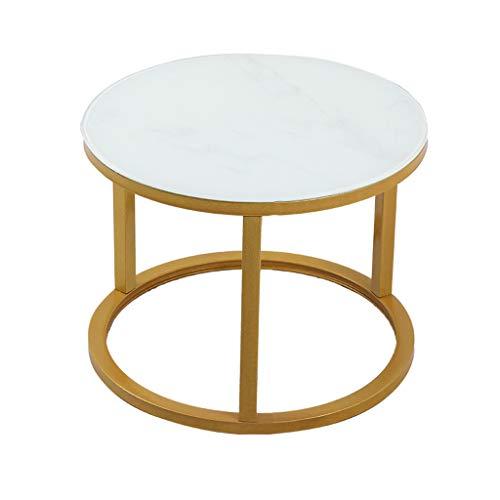 LICHUAN Table basse ronde style marbre, comptoir rond en marbre avec cadre en acier, pour la maison, le salon et le bureau, table d'appoint de salon (couleur : B, taille : 40 x 50 cm)