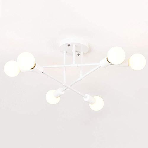 WYBW Candelabro, Nordic Sputnik Candelabro de iluminación, 6 luces, lámpara colgante de metal, moderna rama industrial, luz de techo/lámpara, cocina, comedor, E27, luz colgante, blanco, 70 x 20 cm