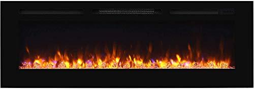 """RICHEN Elektrokamin Fiamma - Elektrischer Einbaukamin (153 cm / 60\"""") Mit Heizung, LED-Beleuchtung, 3D-Flammeneffekt & Fernbedienung - Elektrischer Kamin Schwarz"""