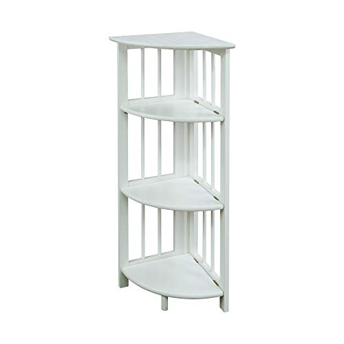 Casual Home 4-Shelf Corner Folding Bookcase, White
