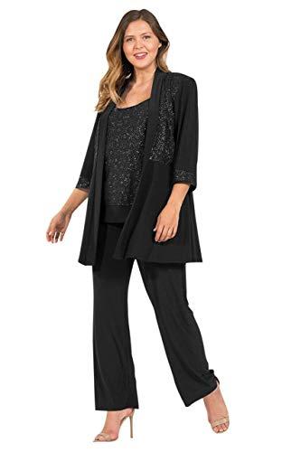 R&M Richards Women's Plus Size Two Piece Glitter and Lace Pant Set Large, Black, 18W