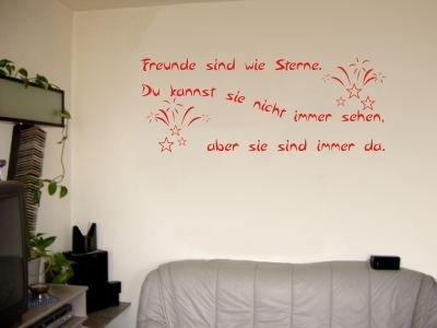 Wandtattoo / Wandaufkleber Zitat Freunde sind wie Sterne, …; Farbe Rot
