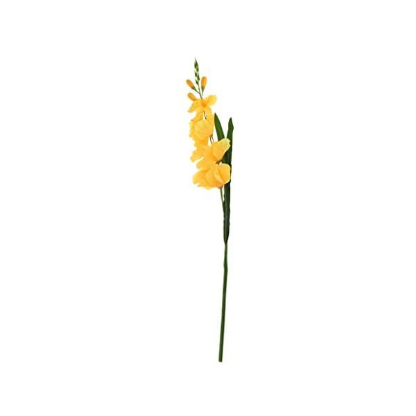 joyMerit Tallo En Spray De Gladiolos Artificiales Seda Falsa Flores Tropicales Gladiolo Amarillo