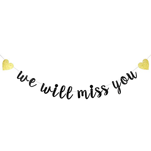 Black Glitter We Will Miss You Banner Bunting for Retirement Party Decorations-Graduation Party Going Away Party Office Work Party Farewell Party Decorations Supplies