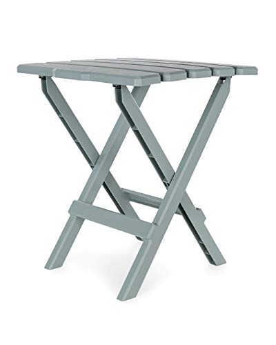 Camco Large Adirondack Portable Outdoor Folding Side Table  Perfect for The Beach Camping Picnics Cookouts and More  Weatherproof and Rust Resistant  Gray 21038