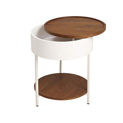 JCNFA MESAS Mesa auxiliar de la sala de estar, gabinete lateral del gabinete del sofá, mesa de mesa de bandeja, almacenamiento giratorio de 360 ° ( Color : White paint , Size : 18.11*18.11*22.04in )