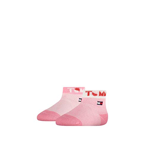 Tommy Hilfiger Tommy Wording Baby Socks (2 Pack) Calcetines, Rosa Combo, 23-26 para Bebés