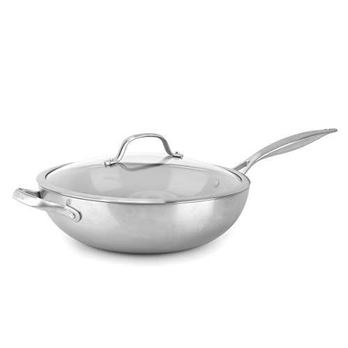 GreenPan Venice Pro Stainless Steel Healthy Ceramic Nonstick, 12' with Lid, Light Gray