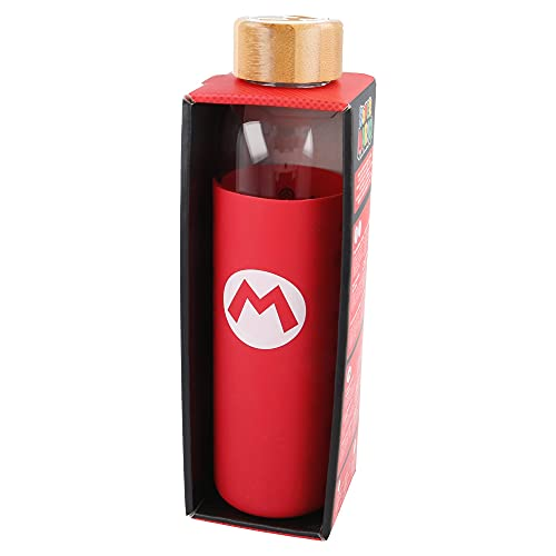 Super Mario | Botella de Agua de Cristal de Borosilicato Reutilizable - 585 ml - Botella de Agua de Vidrio con Funda de Silicona y tapón hermetico