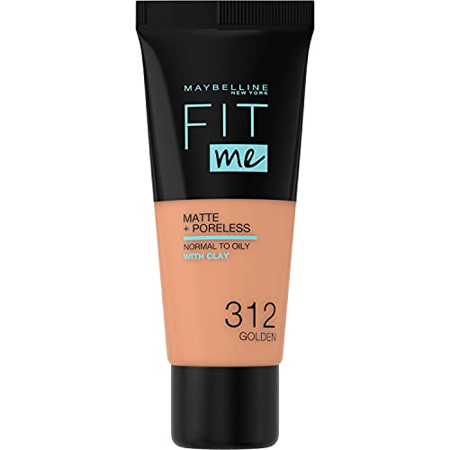 Maybelline New York, Base de Maquillaje que Calca a tu Tono Fit me! Mate y Afinaporos, Color: 312 Golden