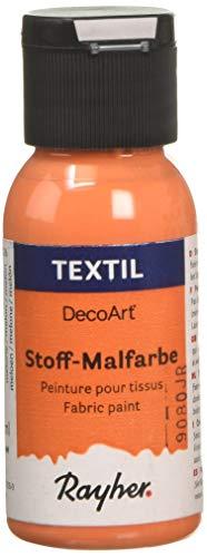 Rayher 38500216 Textil Stoffmalfarbe, Textilfarbe melone, Flasche 34 ml, hochdeckend, cremige Acrylfarbe speziell für Textilien, waschfest