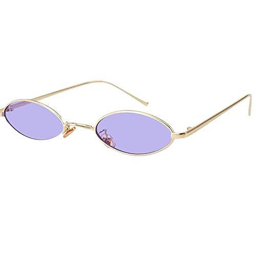 GMYQ Gafas de sol ovaladas vintage para mujer, marco de metal, colores caramelos, diseño de moda, retro, forma de pétalos pequeños, color morado