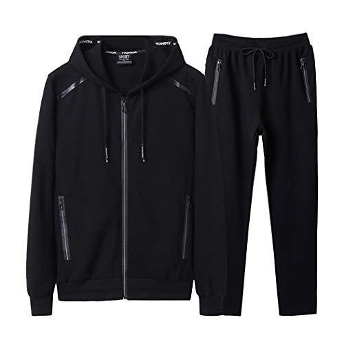 Modern Fantasy Men's Athletic Tracksuit Bomber/Hoodie Jackets & Pants Set Jogging Sweatsuit Big Black 4XL