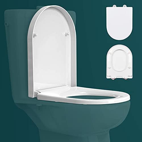 Asiento de inodoro de cierre suave, asientos de inodoro con liberación rápida, fijación simple superior e inferior, tapa de inodoro resistente con tapa de inodoro en forma de D (blanco)