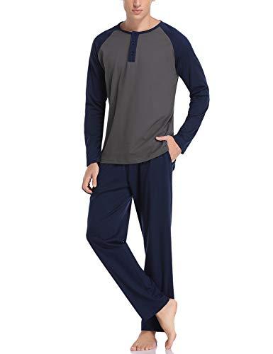 Hawiton Herren Schlafanzug Zweiteiliger Pyjama Set Lang Nachtwäsche Winter Sleepwear Loungewear aus Baumwolle Dunkelgrau XXL