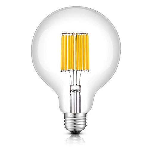 OMAYKEY 12W LED Globe Bulb (120W Equivalent) 3000K Soft White 1200LM, E26 Medium Base Vintage G30 / G95 Clear Glass Globe Edison Style LED Filament Light Bulbs, Non-dimmable