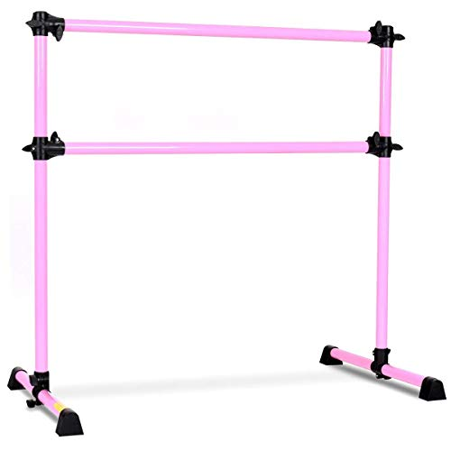 GOFLAME Ballet Barre Portable Double, Freestanding Ballet Barre Adjustable, Heavy Duty Dancing Stretching Ballet for Home,Dance Barre, Fitness Ballet Bar (Pink)