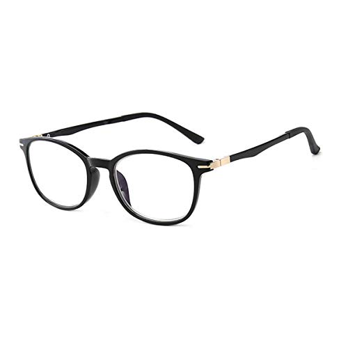 HAOXUAN El Bloqueo de luz Azul Retro Gafas de Lectura adecuados para los Hombres y Las Mujeres, Anti-Azul óptica de la luz de Alta definición, Marco TR90 Gafas Lector,Bright Black Frame,+3.00