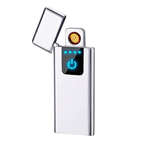 LINGAN Elektrisches Feuerzeug, USB-Zigarettenanzünder dünn, wiederaufladbar, flammenlos, winddicht, tragbar, elektrisch, Taschenformat, Zigarettenanzünder für Herren und Damen, ., silber