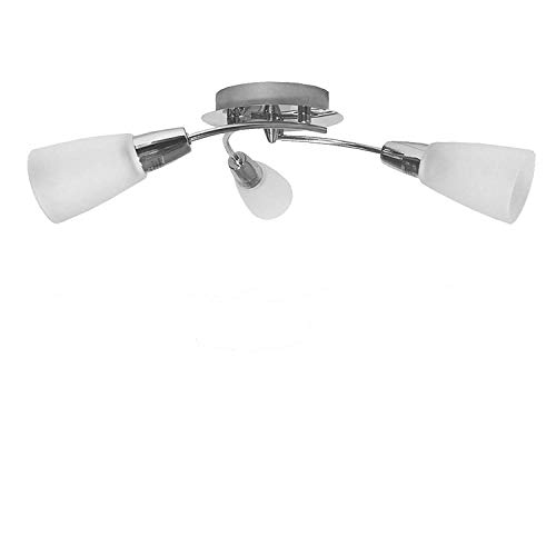 Modern Chrome Low Profile Triple Arm Galaxy Ceiling Light Fitting. Takes 3 x SES Bulbs. LED Compatible