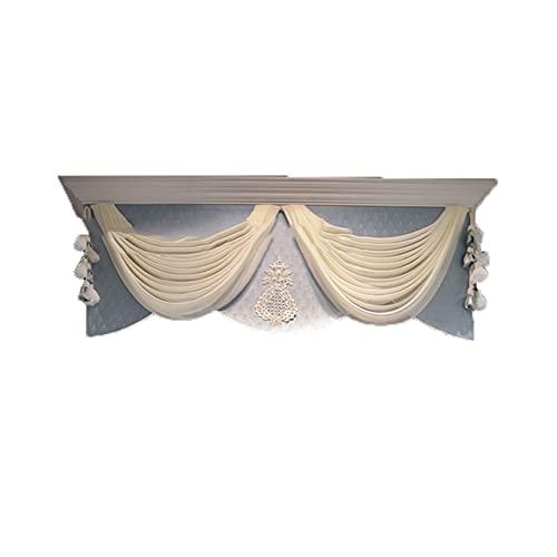 French Light Luxury Romantic Blue Pearl Lace Hilo Bordado Sala de Estar Dormitorio Villa Sombreado Cortinas Decorativas Tela 6 cenefas (Altura 40cm), W100CM X H160CM (1PC), China, 4.Top de Rejilla