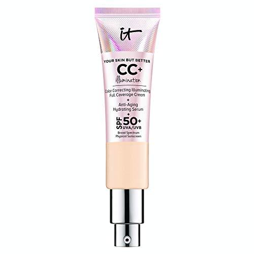 IT Cosmetics Your Skin But Better CC+ Cream Illumination, Light Medium (C) - Color Correcting Cream, Full-Coverage Foundation, Anti-Aging Serum & SPF 50+ Sunscreen - Radiant Finish - 1.08 fl oz