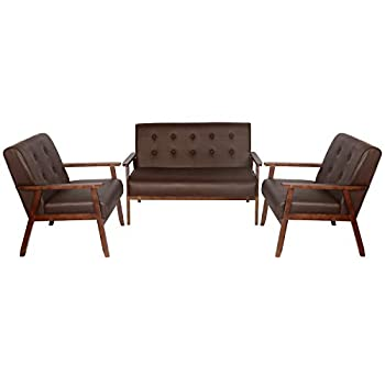 JIASTING Mid Century 1 Loveseat Sofa and 2 Accent Chairs Set Modern Wood Arm Couch and Chair Living Room Furniture Sets  8428 Brown Set
