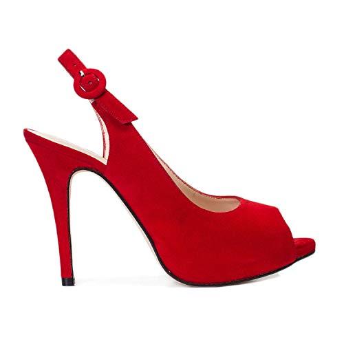 Camila - Sandalias Destalonadas de Vestir para Mujer en Piel - Peep Toe - Tacon Alto Fino Aguja 10 cm - Plataforma 1 cm - Zapatos Fiesta Elegantes Verano -