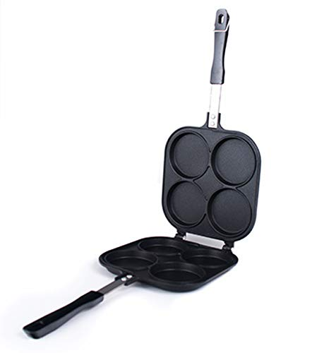 Happy Sales HSOB-YKP4B, Japanese Obanyaki Pan, 3 Inch Diameter Stuffed Pancake Toaster Nonstick Aluminum Pan