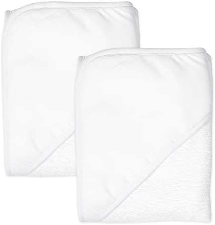 HonestBaby 2 Pack Organic Cotton Hooded Towels Bright White One Size product image