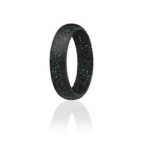 ROQ Silicone Wedding Ring For Women, Affordable Silicone Rubber Band, Black With Teal- Size 8