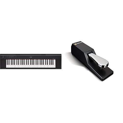 Yamaha Keyboard Piaggero NP-12B, schwarz – Leichtes und transportfreundliches Keyboard & M-Audio SP-2 - Universal Sustain Pedal mit Piano Style Action, das ideale Zubehör