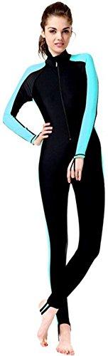 YEESAM Modest Swimwear - Taucheranzug Damen Herren Mädchen UV Schutzkleidung Sunsuit Ganzkörperansicht Badeanzug Overall Watersport (Int'l - S, blau)
