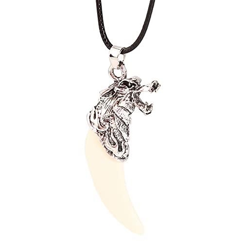 MGZQ Collar con colgante de diente de lobo punk, bonito collar con colgante de cabeza de lobo tallado para hombres y mujeres