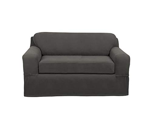 Maytex Pixel Stretch 2-Piece Loveseat Slipcover, Charcoal