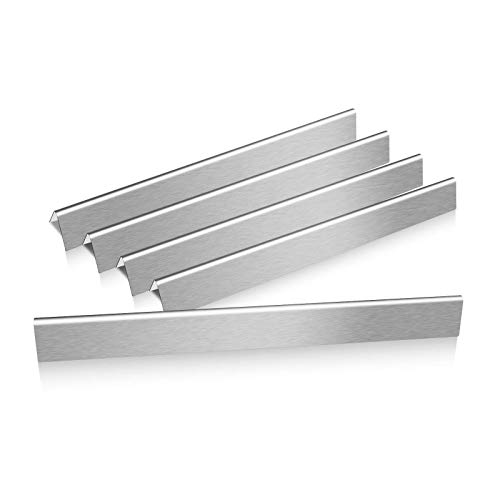 QuliMetal 7540 24.5 Inches Flavor Bars for Weber Genesis 300 Series, E310, E320, S310, S320 (with Side Control Panel), 5 Pack Grill Parts Stainless Steel Heat Plates for Weber 7539 7540, 16 GA