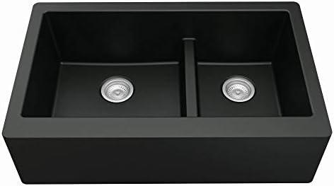 Karran Farmhouse Apron Front Quartz Composite 34 in Double Offset Bowl Kitchen Sink in Black product image