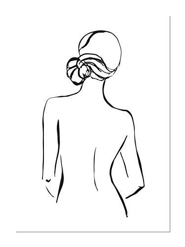 Panorama Poster Silueta Mujer Espaldas 50x70cm - Impreso en Papel 250gr - Poster Pared - Laminas para Enmarcar - Cuadros Decoracion Salon - Posters Decorativos - Cuadros Modernos