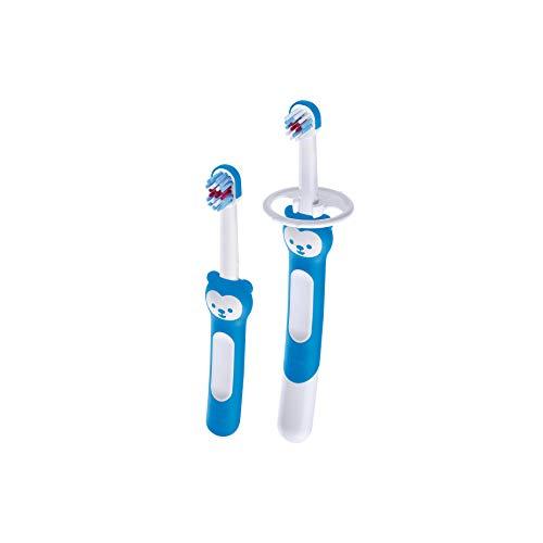 MAM Learn to Brush Set, Baby Zahnbürste mit langem Griff zum gemeinsamen Halten, Kinderzahnbürste trainiert das Zähneputzen, ab 5+ Monate, blau