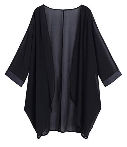 Product Image of the olrain Women's Floral Print Sheer Chiffon Loose Kimono Cardigan Capes (Medium,...
