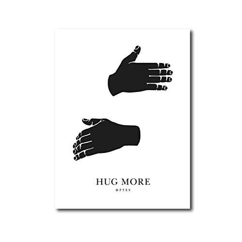 ArtWuDecor Nero Bianco Wall Art abbraccio più stampe su Tela Poster Minimalista Tela pittura scandinavosoggiorno Decor Regalo per gli sposi 40x60cmx1 (Senza Cornice)