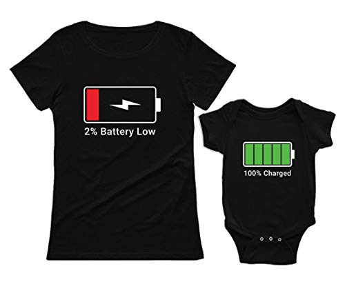Green Turtle Ropa Mama Bebe, Regalo Mama Primeriza - Battery Charge Set Camiseta Mujer y Body bebé