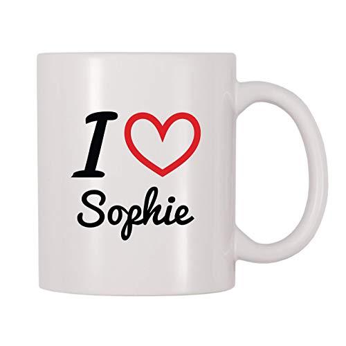 Taza de café, taza de té, taza de té, taza de café con nombre personalizado I Love Sophie, taza de té de café de 11 onzas, regalo para mujeres y hombres