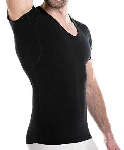 FINN Camisetas Hombre con Inserciones Antisudor - Ropa Interior Transpirable Negro L
